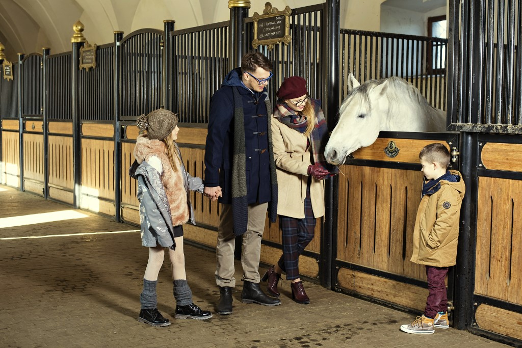 MaroWays Stroking the Lipizzaner horses in the ancient stables of Lipica stud farm with MaroWays