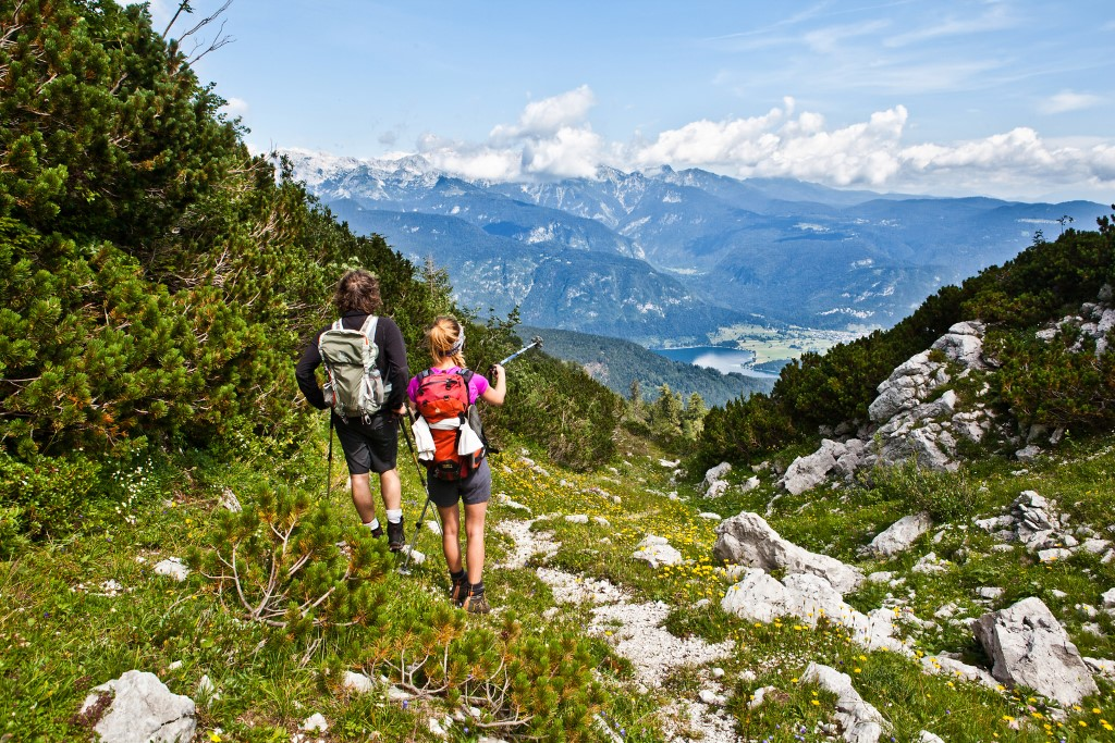 MaroWays Hikers on the Juliana Trail in the Triglav National Park with a breath-taking view of the lake Bohinj