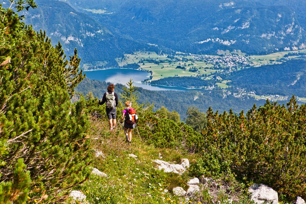 MaroWays Hikers on the Juliana Trail with a breath-taking view of the lake Bohinj